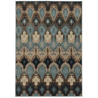 Old World Tribal Blue/ Stone Rug - 6'7 x 9'6