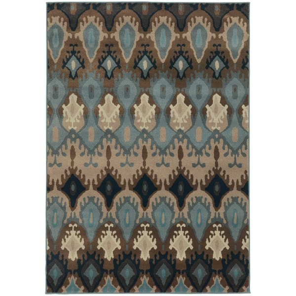 Old World Tribal Blue/ Stone Rug - 7'10 x 10'10