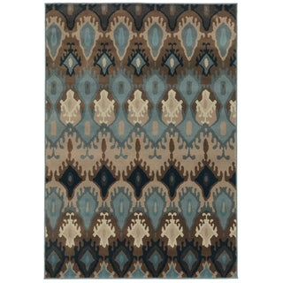 "Old World Tribal Blue/ Stone Area Rug - 3'10"" x 5'5"""