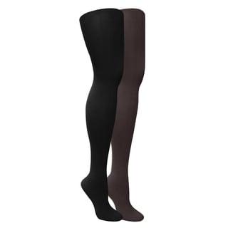 Muk Luks Women's Black/ Grey Microfiber Tights (Set of 2 Pairs)