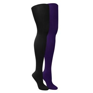 Muk Luks Women's Black/ Purple Microfiber Tights (Set of 2 Pairs) - Black/Purple
