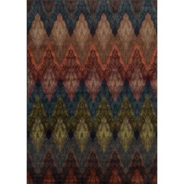Chevron Patterned Multi-colored Rug - 5' x 7'6