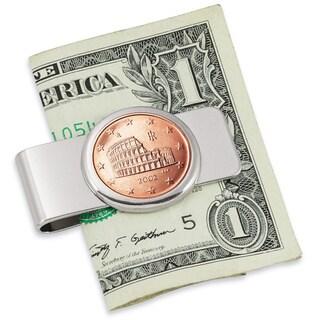 Italian Amphitheatre Five-cent Euro Coin Silvertone Money Clip