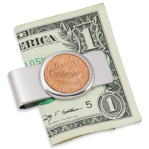 Greek Ship Five Cent Euro Coin Silvertone Money Clip