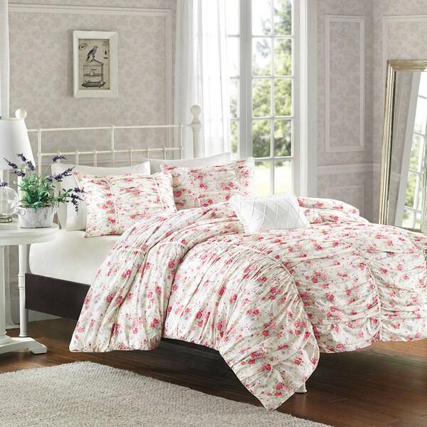 Madison Park Camila Floral Print 4-piece Duvet Cover Set