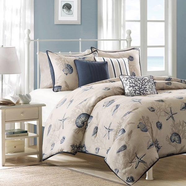 madison park nantucket blue cotton printed 6piece duvet cover set