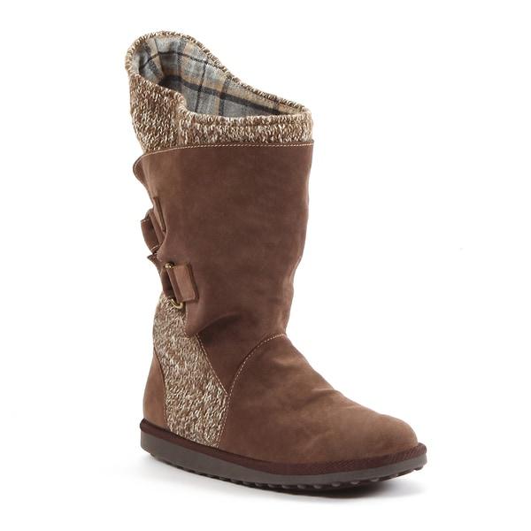 Muk Luks Women's 'Luna' Brown Buckled Knit Combo Boots