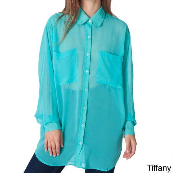 American Apparel Women's Oversized Chiffon Button-up Shirt (One size)
