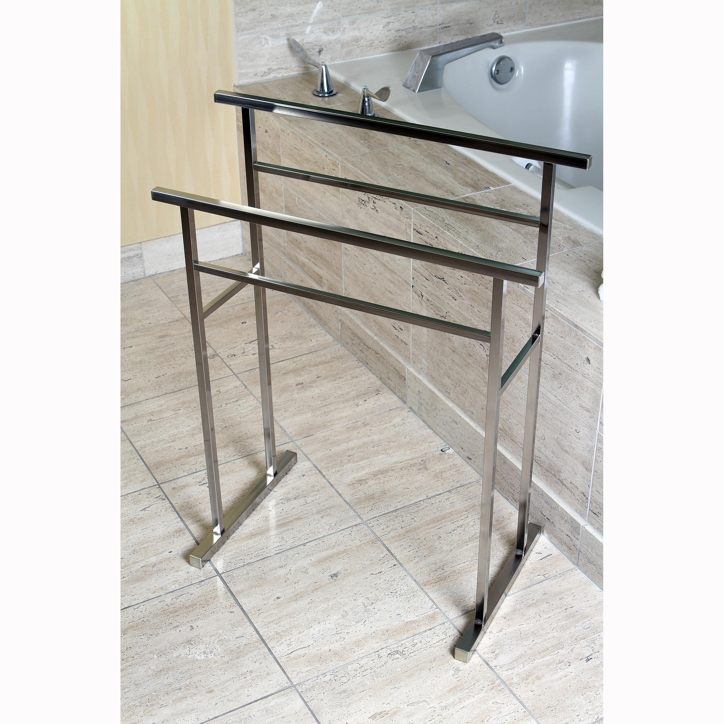European Pedestal Brushed Nickel Bath Towel Rack Grey Overstock 8431666