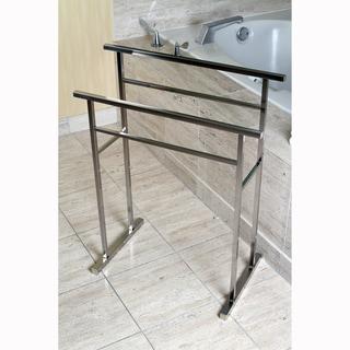 European Pedestal Brushed Nickel Bath Towel Rack - Grey