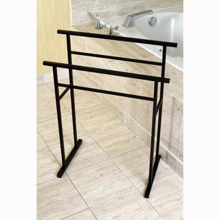 European Pedestal Oil Rubbed Bronze Bath Towel Rack - brown