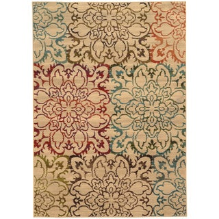 """Oversized Floral Ivory/ Multi Rug (3'10 x 5'5) - 3'10"""" x 5'5"""""""