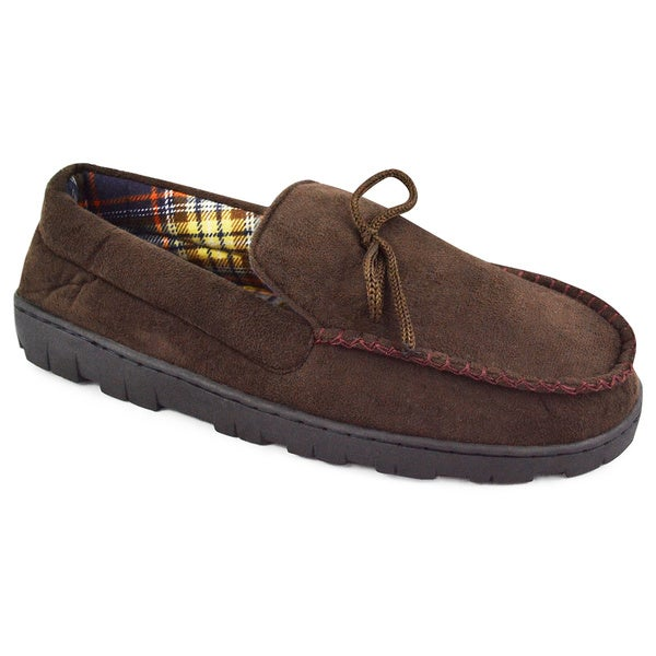 MUK LUKS Men's Polysuede Moccasin with Flannel Lining