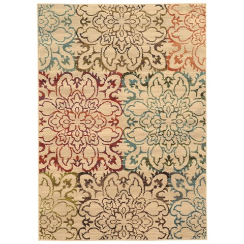 """Oversized Floral Ivory/ Multi Rug (7'10 x 10') - 7'10"""" x 10'"""