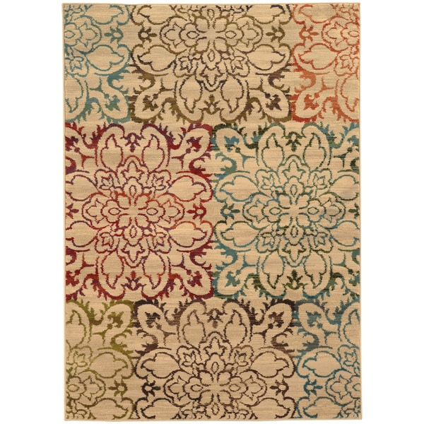 "Oversized Floral Ivory/ Multi Rug (7'10 x 10') - 7'10"" x 10'"