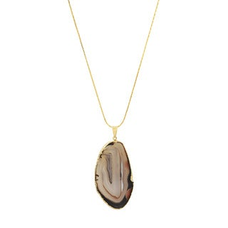 American Coin Treasures Copper Brown Agate Slice Necklace