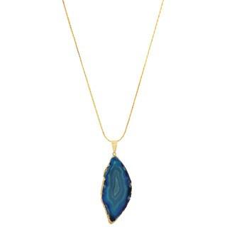 American Coin Treasures Copper Blue Agate Slice Necklace