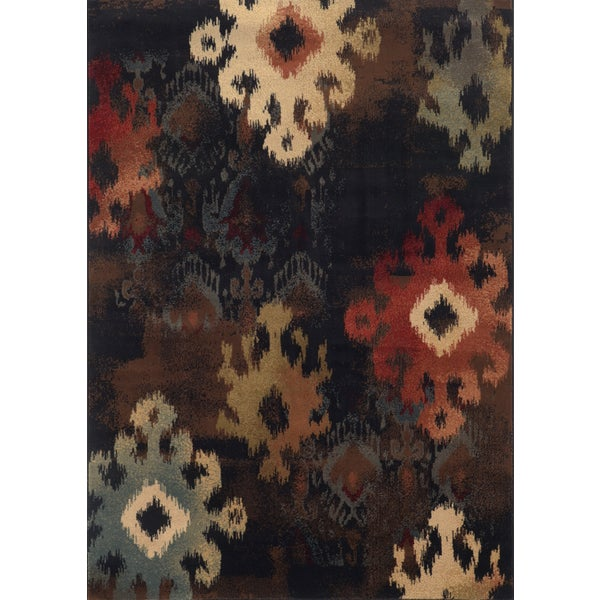 Tribal Ikat Black/ Brown Rug (7'8 x 10'10)