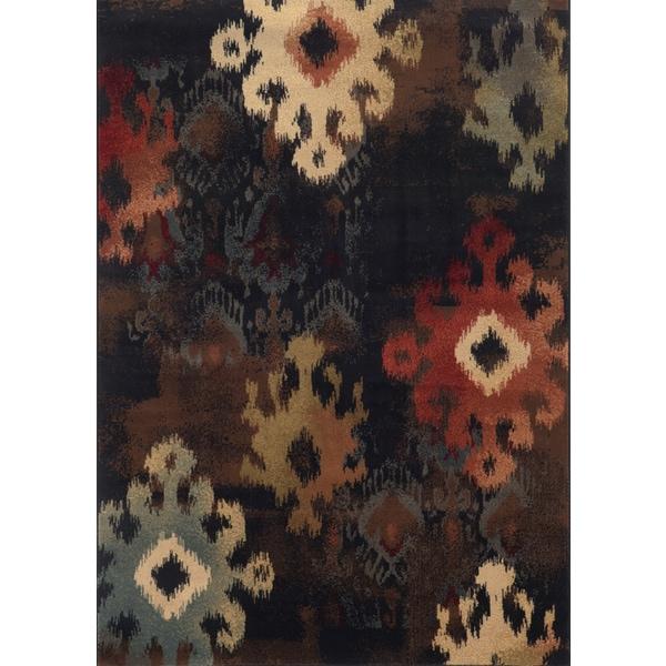 Tribal Ikat Black/ Brown Rug