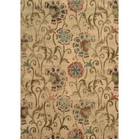 """Faded Floral Ivory/ Green Rug (6'7 x 9'6) - 6'7"""" x 9'6"""""""