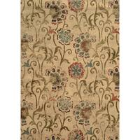 Faded Floral Ivory/ Green Rug