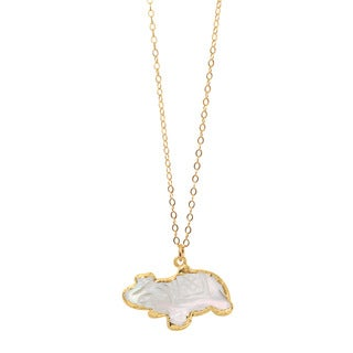 American Coin Treasures Goldfill Mother of Pearl Elephant Necklace