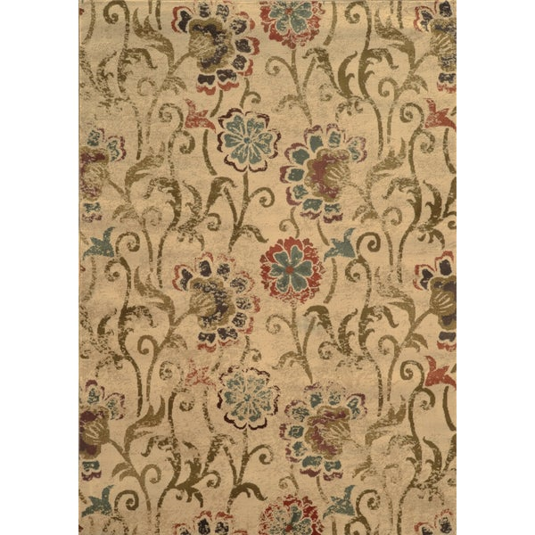 Faded Floral Ivory/ Green Rug - 5'3 x 7'6