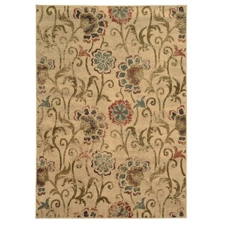 """Heathstone Faded Floral Ivory/Green Area Rug - 5'3"""" x 7'6"""""""