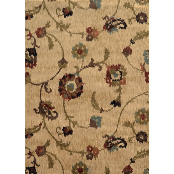 Floral Ikat Tan/ Multi Rug - 7'8 x 10'10