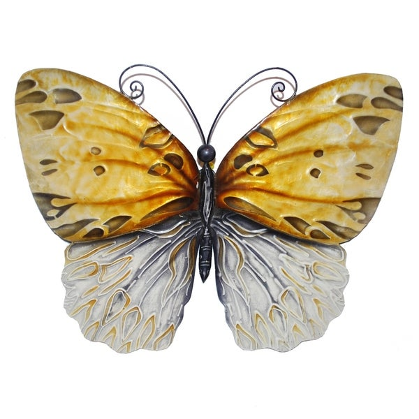 Hand Painted Honey Metal Butterfly Wall Art (Philippines)
