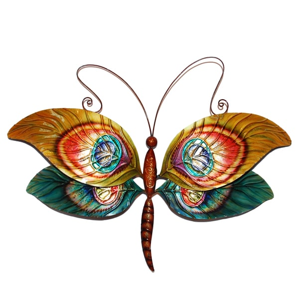 Hand-painted Peacock Dragonfly Wall Art , Handmade in Philippines