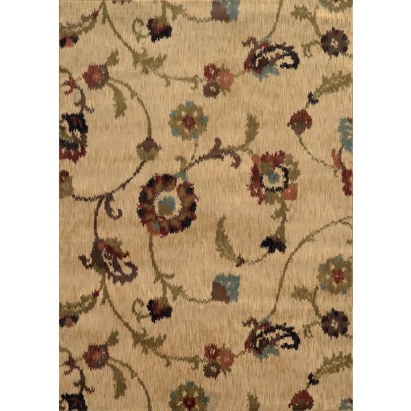 Floral Ikat Tan/ Multi Rug - 6'7 x 9'6