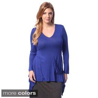 24/7 Comfort Apparel Women's Plus Long Sleeve Tunic