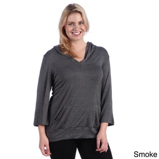 24/7 Comfort Apparel Women's Plus 3/4 Sleeve Hoodie Top