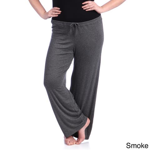 24/7 Comfort Apparel Women's Plus Drawstring Straight Leg Pants