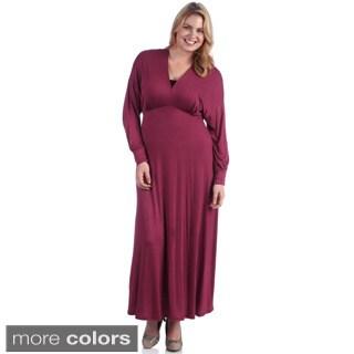 24/7 Comfort Apparel Women's Plus Solid Faux Wrap Maxi Dress
