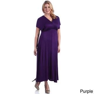 24/7 Comfort Apparel Women's Plus Faux Wrap Maxi Dress