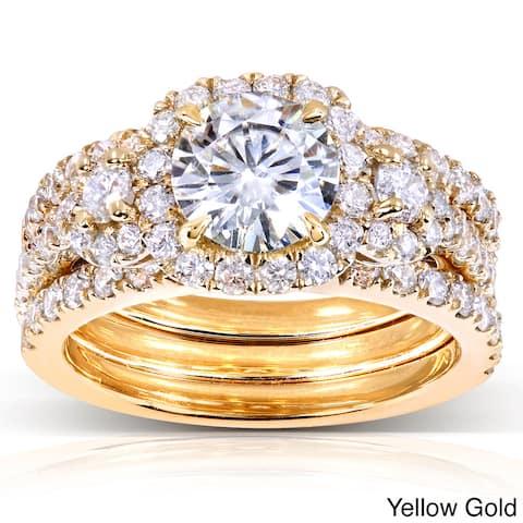 Annello by Kobelli 14k Gold 2 1/3ct TGW Moissanite and Diamond 3-piece Halo Bridal Rings Set