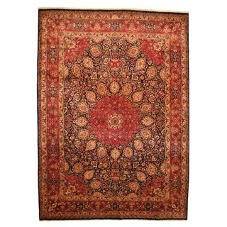 Herat Oriental Persian Hand-knotted Mashad Red/ Navy Wool Rug (9'9 x 13'9)