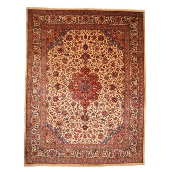 Herat Oriental Persian Hand-knotted Mashad Wool Rug - 9'9 x 12'5