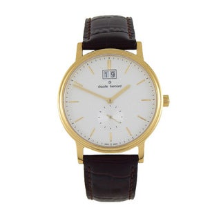 Claude Bernard Men's 64010 37J-AID Classic Gents Goldtoned Leather Strap Watch