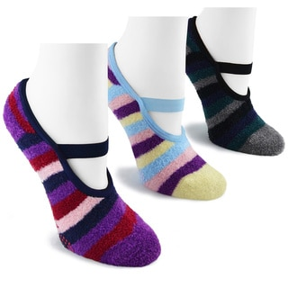 MUK LUKS Women's 3 Pair Buttercreme Maryjane with Aloe Socks