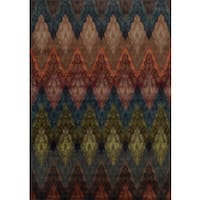 Chevron Patterned Multi-colored Rug - 7'10 x 10'