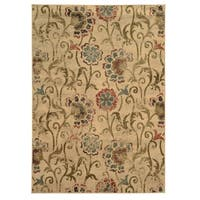 Faded Floral Ivory/ Green Rug - 3'10 x 5'5