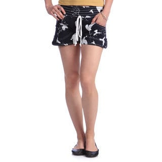 Black & White Bird Print Elastic Waist Shorts with Epoulette Tabs