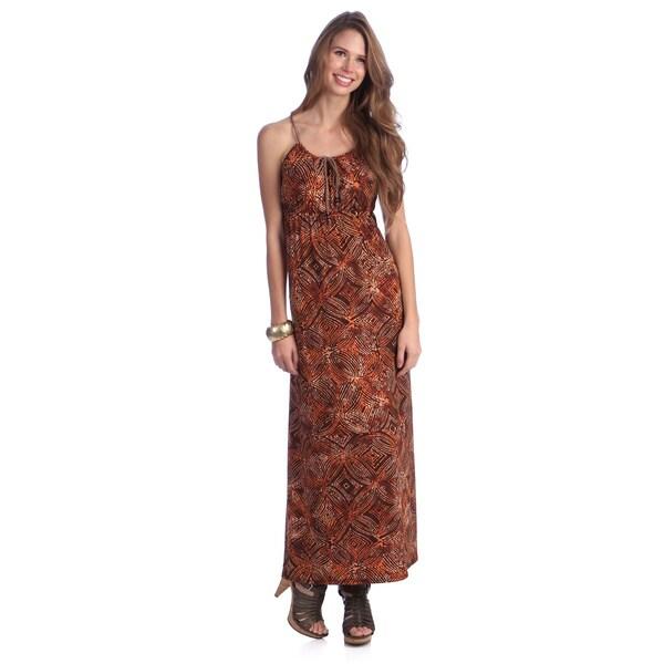 Women's Brown/ Orange Abstract Print Maxi Dress