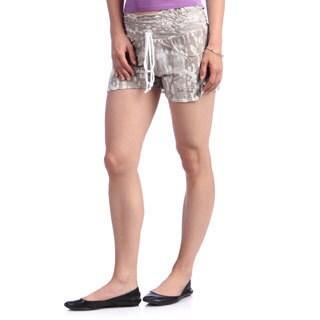 Beige Printed Elastic Waist Shorts