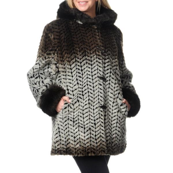1164eaa0e499c Shop Women s Plus Size Zig-zag Print Faux Fur Coat - Free Shipping ...