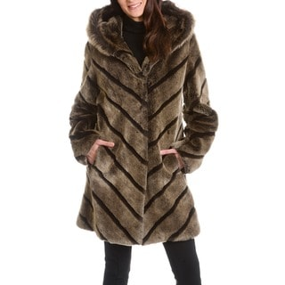 Women's 'Samara' Taupe Faux Fur Coat