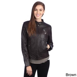 United Face Womens Lambskin Leather Moto Jacket